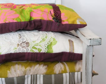 4 cushions Designer Guild, double-sided, unique creation, silk / linen / lace / wedding gift / COUS150134