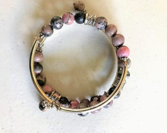 8mm Black Rhodonite Gemstone memory wire bracelet