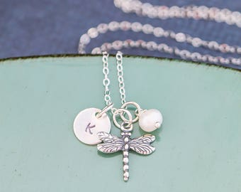 Dragonfly Jewelry Insect Charm Dragonfly Necklace • Sterling Silver Gardener Gift Nature Jewelry • Winged Bug Necklace Handstamp