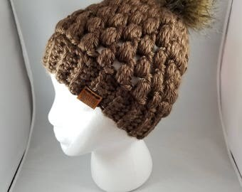 Brown Chunky Crocheted Beanie, With or Without Pom, READY TO SHIP