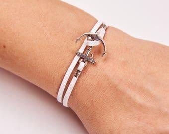 Woman Bracelet - Women Leather Bracelet - Women Anchor Bracelet - Women Nautical Bracelet - Woman Jewelry - Woman Gift - Women White Jewelry