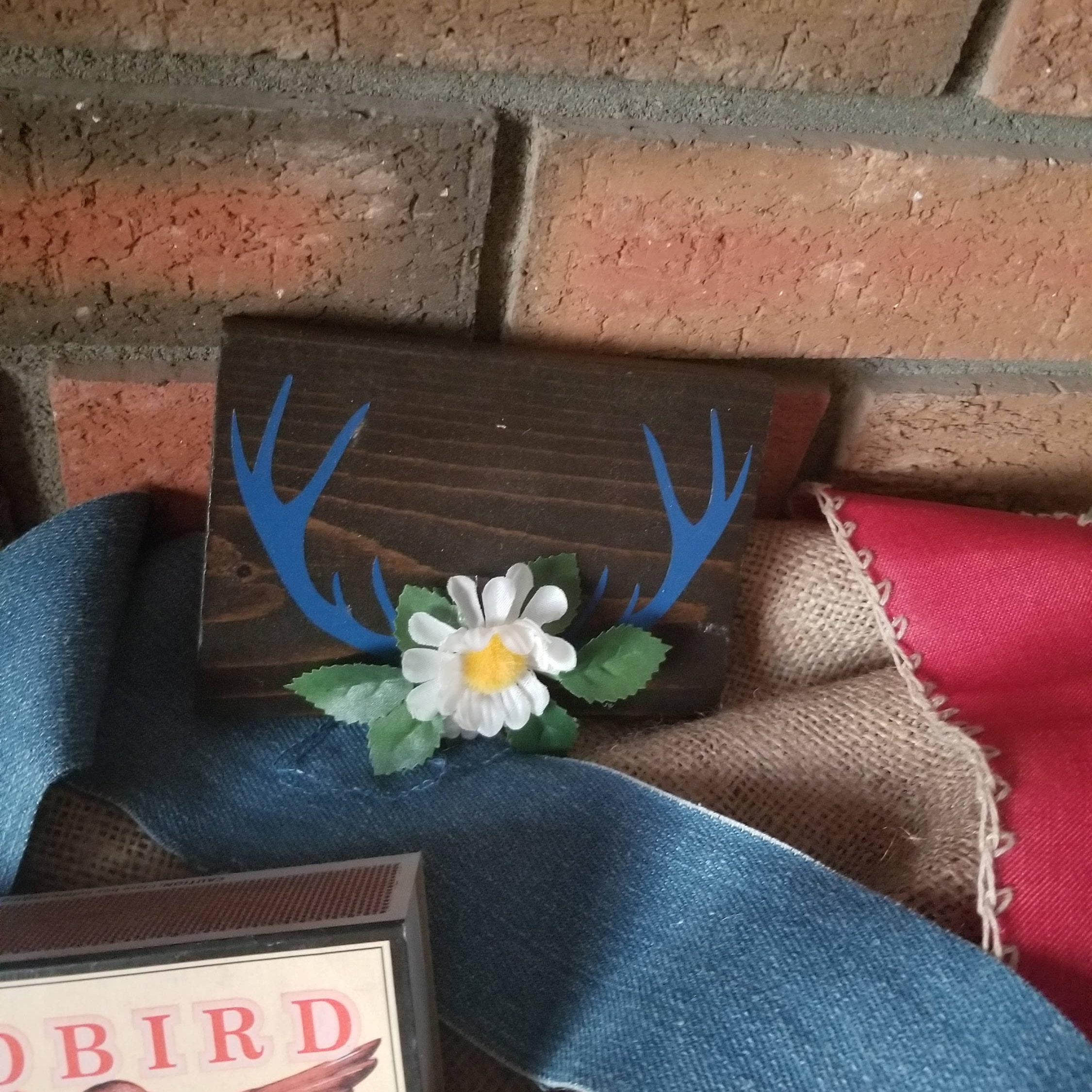 Mini Floral Antlers, Rustic Mini Nursery Sign   Woodland Home Decor   Baby  Boy Decor   Little Wooden Sign   New Baby Gift