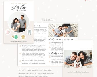 Style guide template for photographers, Style guide photography, 7x5 folded card, What to wear guide, What to wear template, family, kids