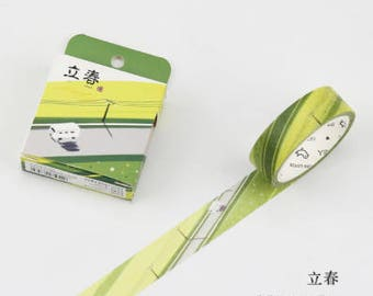 Spring Road - Spring Washi Tape - Countryside Washi Tape - Grass Field Washi Tape - Road trip - Springtime  (15mm X 7m)