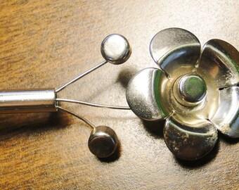 "Vintage Silver Tone Flower Brooch - 3"" Long - Pretty!"