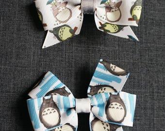 "Totoro Inspired 3"" Hair Bow/Clip Set - Miyazaki, Ghibli, My Neighbor Totoro"