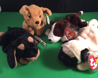 Vintage Set of 4 Ty Beanie Baby Dogs/Beanie Babies/Pupsly/Doby/Tuffy/Bruno