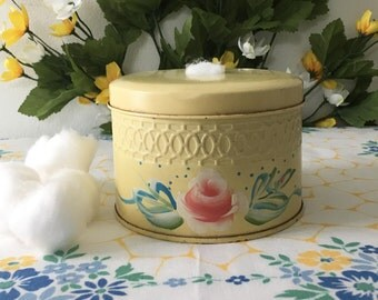 1950's Tole Painted Vanity Cottonball Holder