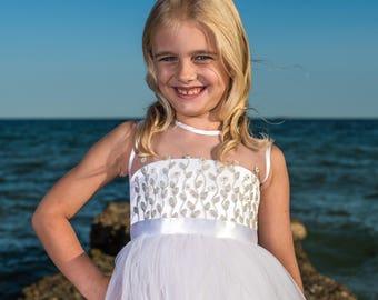 White Embroidery Dress, White Tulle Dress, Flower Girl Dress Junior Bridesmaid Wedding Party Dress Birthday dress Baby girl Toddler