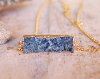 Mid-long necklace, natural stone pendant, stunning druzy gray gold plated chain, natural quartz pendant pendant