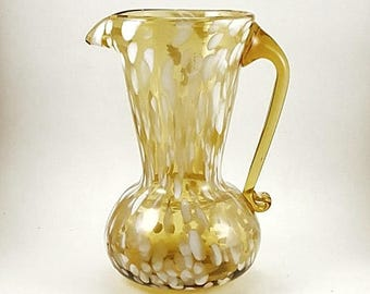 Spatter Glass Pitcher Art Glass Hand Blown