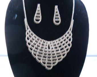 Rhinestone Bib Necklace Earring Set #694