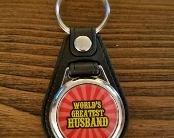World's Greatest Husband Keychain, Key Fob, Birthday Gift, Christmas, Father's Day, Wedding Gift