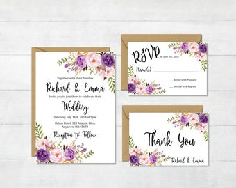 Purple Boho Printable Floral Wedding Invitation Suite, Boho Wedding Invite, Lavender Invite, Lilac Bohemian Wedding Invite, Download, 121-W