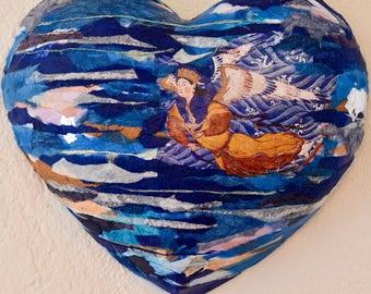 Wall sculpture, Heart art papier maché, wall decor, wall art, decorative wall panel, gift idea, handmade, art object