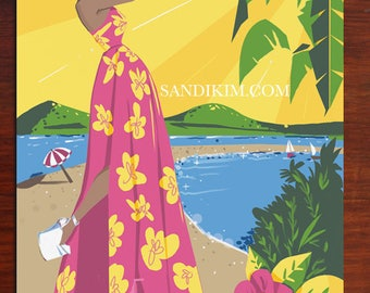Fashion Art Print, Fashion Illustration, Island Style, Wall Art, SandiKim, Gifts