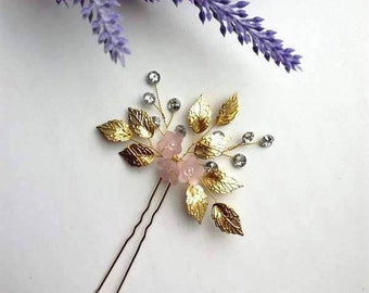 Powdery hairpin, Gold Hairpin, Gold hair accessories, Accessories for hair, Gold petals,Gold leaves, Bridal hair piece, Pink hairpin