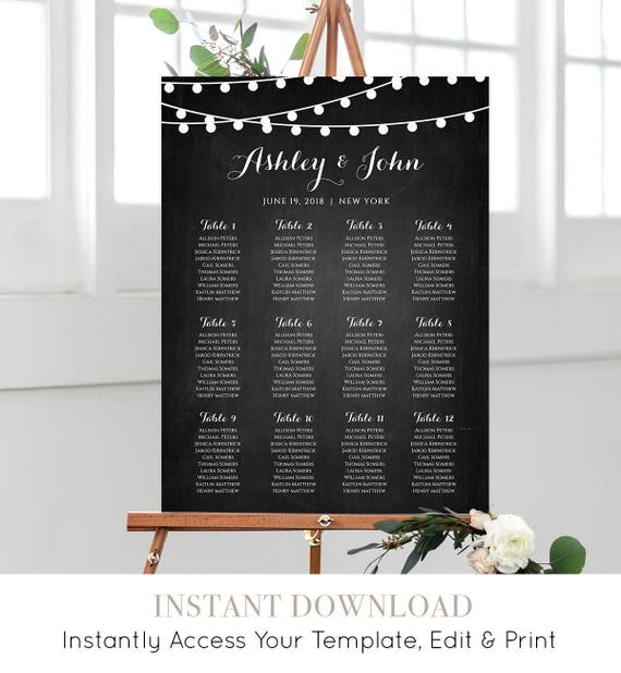 Wedding Seating Chart Template, Instant Download, String Light Chalkboard Seating & Table Plan, Custom Seating, 100% Editable #014-206SC