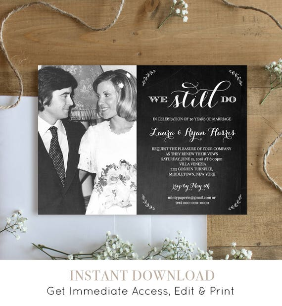 Wedding Vow Renewal Template, We Still Do, Instant Download, Photo Anniversary Invitation, Renew Vows, 100% Editable, Digital #NC-201VR