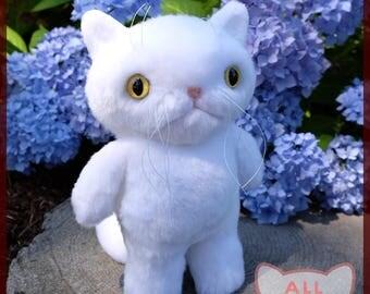 White Cat plushie short hair stuffed animal OOAK longhair yellow custom eyes persian