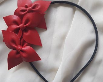 Red genuine leather side flower crown / headband / fascinator, ideal for a bride / bridesmaid / flower girl, or the races