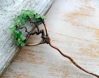 Tree of life hair stick Wire wrapped hair accessories Metal hair pin Tree hair pin Bun pin Hair stick Copper hair pin Hair wire stick