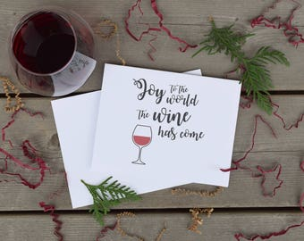 """Funny Christmas Card Pack of 5, """"Joy to the World the Wine has Come"""", Holiday Card, Wine Lover, Xmas Card"""