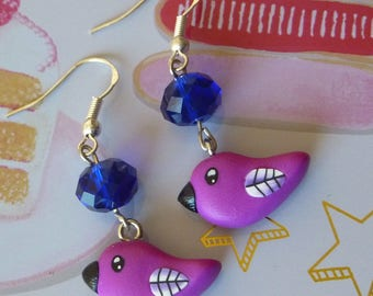 Earrings Metal Platinum bird kawaii purple polymer clay fimo and Pearl blue faceted midnight