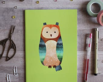 NOTEBOOK. A5 Cute Owl Notebook. Soft 300 gsm Card Cover. 40 lined pages. Matte lamination pleasant to the touch.
