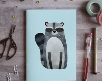 NOTEBOOK. A5 Cute Raccoon Notebook. Soft 300 gsm Card Cover. 40 lined pages. Matte lamination pleasant to the touch.