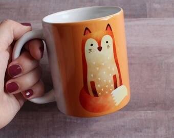 CERAMIC MUG. Tea/Coffee Fox White and Glossy Ceramic Mug 11 oz. Dishwasher and Microwave safe.