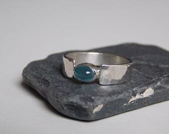 hammered silver ring with turquoise blue aquamarine stone
