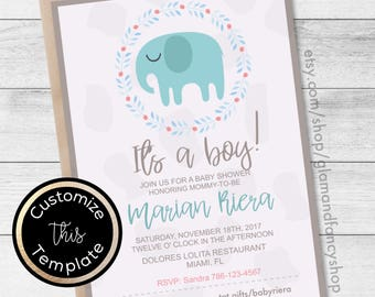 Elephant Baby Shower Boy DIGITAL Invitation