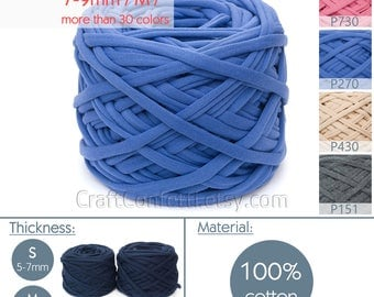 Indigo T-shirt yarn / M yarn / Blue fabric yarn 100% cotton yarn Blue spaghetti yarn Bulky yarn Craft material / P270 / 5 m (5.5 yrds)