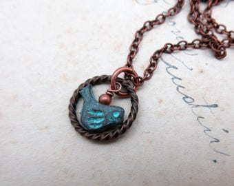 Patina Copper and Brass Bird Necklace – Verdigris Pendant Necklace – Bird Pendant
