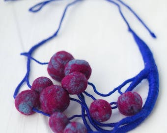 Wool Necklace Hand-Made Fuchsia-Blue Cherry necklace Melange Acrylic Yarn Custom-Fit Gift for Her Textile necklace Inspired by nature