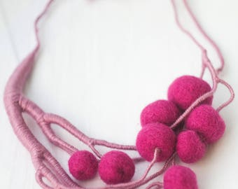 Pink Wool Necklace Magenta Hand-Made Cherry Necklace Custom-Fit Gift for Her Ukrainian Artist Boho Necklace Textile Necklace Felt Necklace