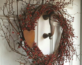 Farmhouse Wreath, Farmhouse Decor, Everyday Wreath, Front Door Wreath, Grapevine Wreath, Country Wreath, Heart Wreath, Country Home Decor