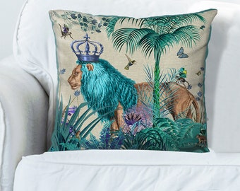 Lion Pillow cover blue pillow cover blue decor jungle pillow tropical decor lion cushion jungle cushion tropical pillow blue room decor kids
