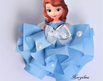 Princess Sofia the first Hairclip Handmade Hair Band Crown Disney Princess Sofia Party Favor Sofia the first hair clip Sofia Ribbon Hairclip