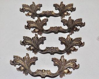 "Brass tone French Provencial drawer pulls,set of 4,metal brass drawer handle,#3515,ornate hardware,5.25"" long,restoration hardware,3"" center"