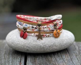 Bracelet liberty fabric adelajda _ star and sequin bracelet enameled _ red yellow cuff bracelet