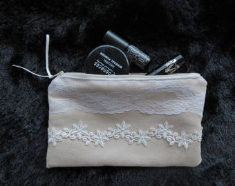 Small clutch, make up bag - with a lacey decoration - bohemian, hippie, vegan and chic !