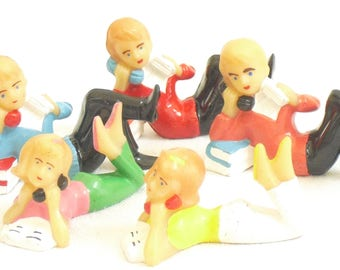 Vintage Telephone Teens Cake Toppers, Wilton Cake Decoration, 1991, 5 Figurines, 3 Males, 2 Females, Party Favors, Talking on Old Home Phone