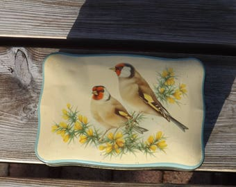 Boite oiseaux tole Mackintosh's reg. Old tin box. Vintage. GB