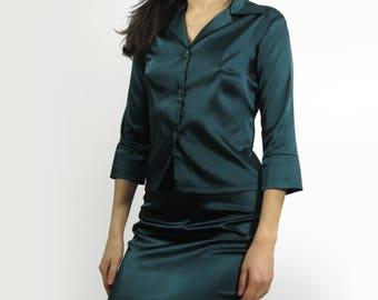 Satin Emerald Green Teal Skirt Set Lingerie Dress Size 6 Medium