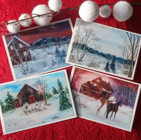 4 cards of holiday Christmas/discounts on 4 cards/greeting card/Christmas new year/greeting of holiday/card winter landscape/winter
