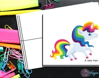 Rainbow unicorn Note cards / Custom girl unicorn Stationery / Girl Stationery Set / Girl Thank You Cards / Set of 12 Kid Notes