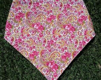 Floral Paisley Polka Dot Reversible Snap on Pet Bandana
