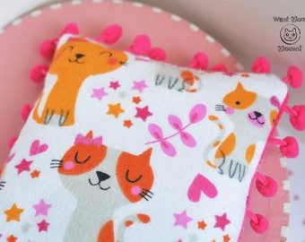 Cat pillow, Jumbo Cat toy, Cusion pad, Cat furniture, Cat bed, Soft flannel pink kitty pillow, Gift for cats, Eco friendly Cat bedding